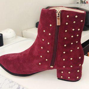 RAYE Red Gold Studded Kitt Boots